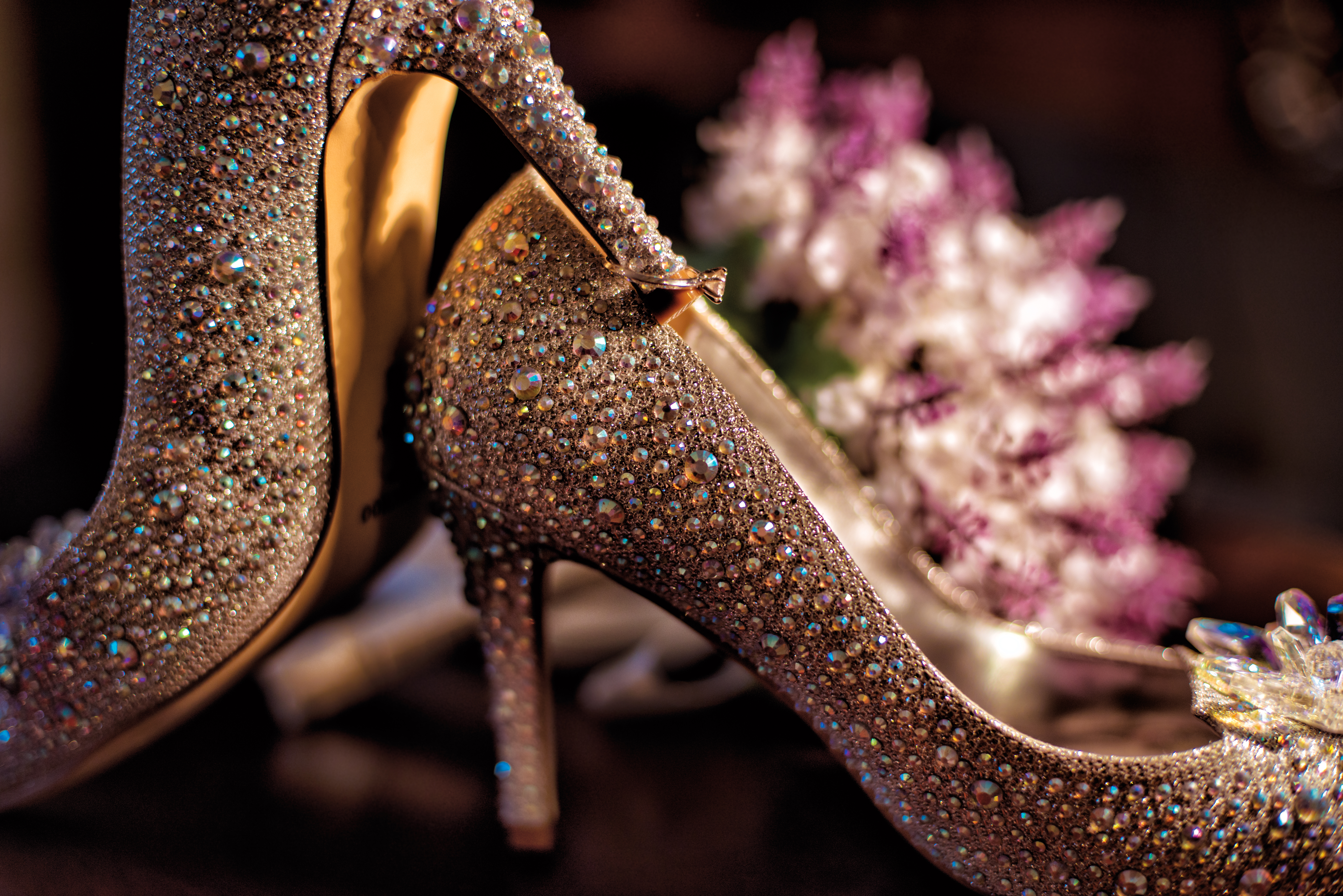 Wedding shoes with crystals wedding ring and bouquet